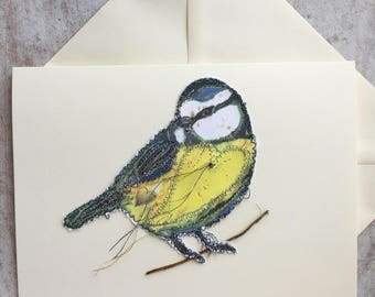 Fiddlestitch Blue Tit Card. Blue Tit Cart. A card for Bird Lovers.