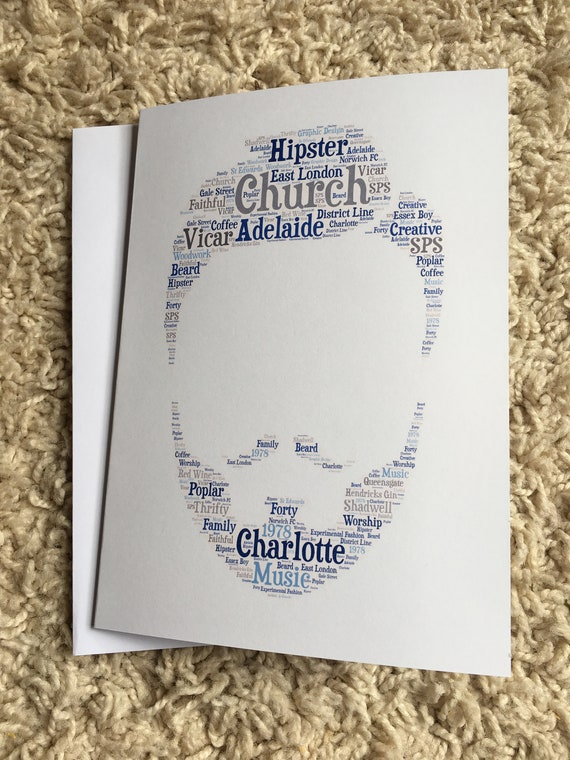 1 Personalised GUITAR Word Art A4 Print or A5 Greetings Card