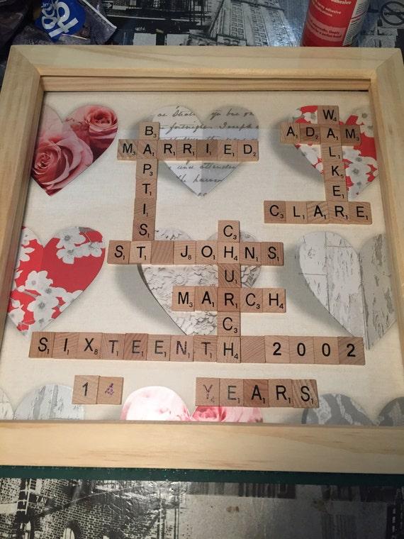 A Plastique//Bois Scrabble Art Cadre Photo Personnalisé Word//Cœur Toute Occasion