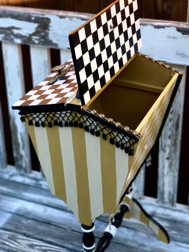 Yellow Sale !Two sided lid table .Adorable two lid storage piece white and black with whimsical designs .side table yellow