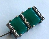 Antique rare Art Deco Signed quot Made In Czechoslovakia quot Chrysoprase Glass Marcasite Clawfeet Prongs Brooch Pin