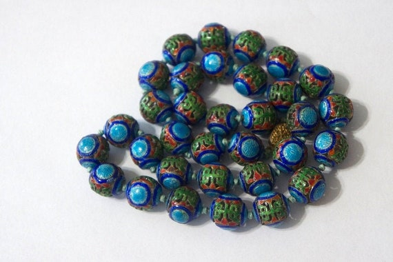 Vintage China Mandarin Bead Turquoise Green Blue a