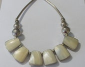 Vintage Native American ZUNI Navajo Southwestern Necklace Handcrafted with unmarked SILVER and Mother of Pearl -MOP