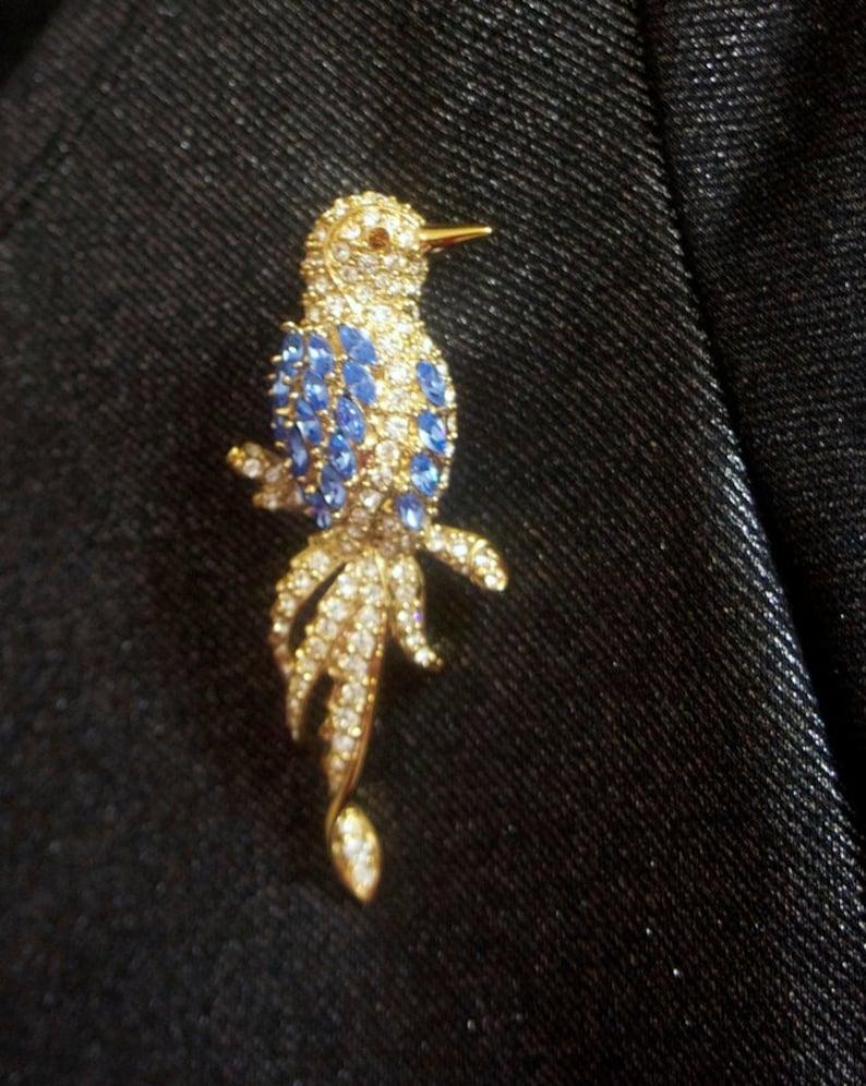 Vintage Nolan Miller signed Big Blue and White Bird gracefully sitting on Branch Rhinestones Brooch Pin ~