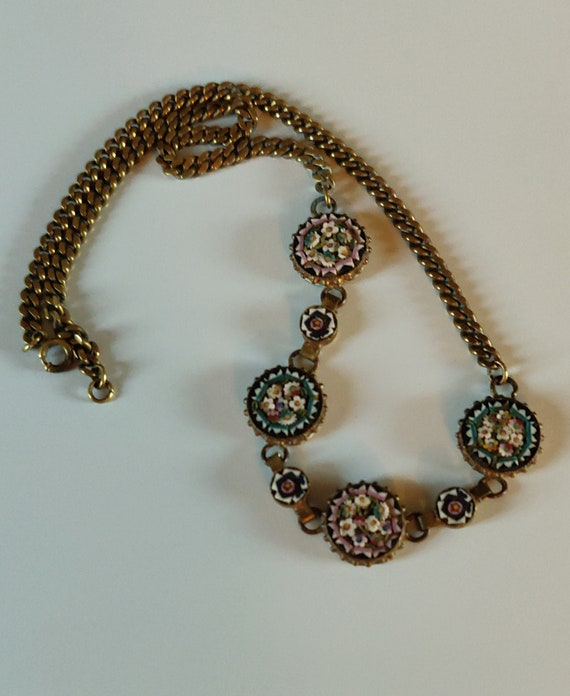 Vintage 1930s Micro Mosaic Choker Necklace