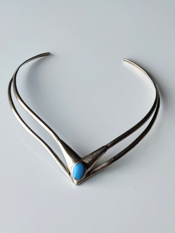 Vintage Egyptian Turquoise Collar Silver Plated Ne