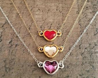 Crystal Heart Necklace, Swarovski Crystal Heart Necklace, Choose Your Heart Pendant, Heart Necklace, Swarovski Crystal Jewelry