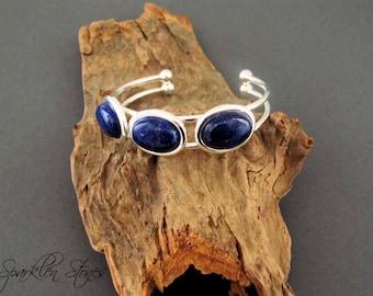 Christmas in July SALE, Lapis Lazuli Cuff Bracelet, Blue Lapis Bracelet, Lapis Bracelet, Blue Gemstone Bracelet, FREE Domestic Shipping