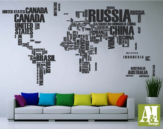 World map words wall decal wall vinyl decal sticker housewares gumiabroncs Image collections