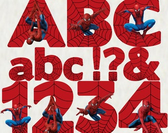 Spiderman Alphabet | Instant Download | Digital Letters and Numbers | Printable Letters and Numbers | Spiderman Font Clipart