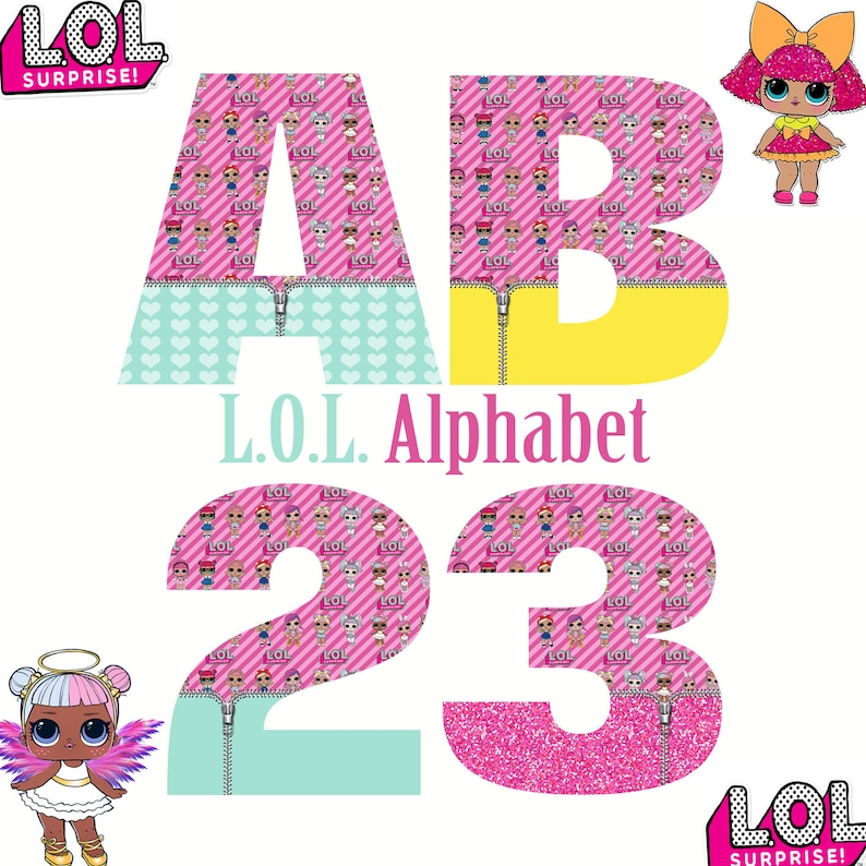L O L  Alphabet & Numbers | Instant Download | Digital Letters and Numbers  | Printable Letters and Numbers | L O L  Clipart