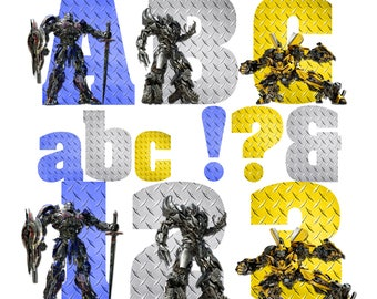 Transformers Alphabet | Instant Download | Digital Letters and Numbers | Printable Letters and Numbers | Transformers Font Clipart