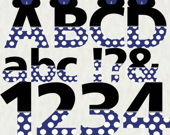 Mickey Mouse Alphabet - Instant Download - Printable Alphabet - Blue & Silver Letters and Numbers
