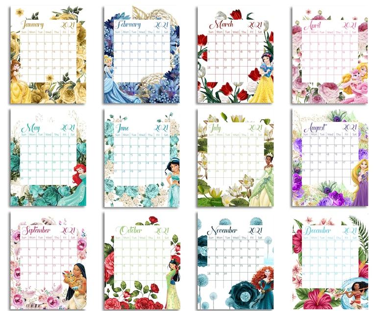 Princess 2021 Calendar Instant Download Digital Calendar ...
