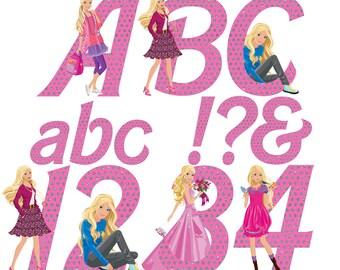 Barbie Alphabet | Instant Download | Digital Letters and Numbers | Printable Letters and Numbers | Barbie Clipart Font