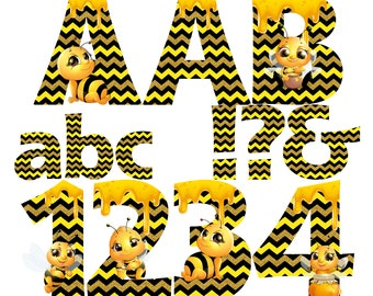Little Bee Alphabet | Instant Download | Digital Letters and Numbers | Printable Letters and Numbers | Bee Font Clipart | Bee Alphabet