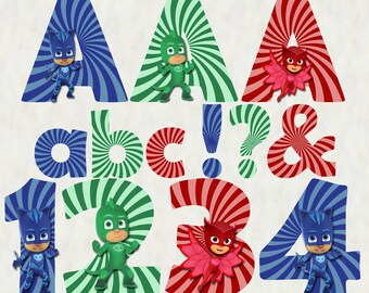 PJ Masks Alphabet | Instant Download | Digital Letters and Numbers | Printable Letters and Numbers
