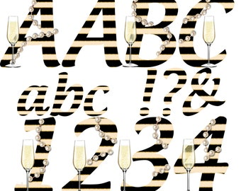 Great Gatsby 1920's Alphabet | Instant Download | Digital Letters and Numbers | Printable Letters and Numbers