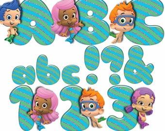 Bubble Guppies Alphabet | Instant Download | Digital Letters and Numbers | Bubble Guppies Letters and Numbers | Bubble Guppies Clipart