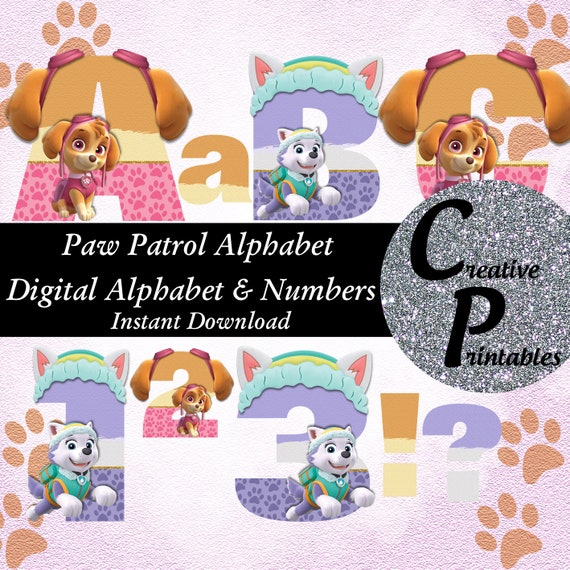 Paw Patrol Alphabet Instant Download Digital Letters And Numbers Printable  Letters And Numbers Skye Everest Clipart .