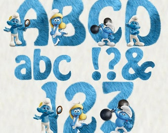The Smurfs Alphabet | Instant Download | Digital Letters and Numbers | Printable Letters and Numbers | Smurfs Font Clipart