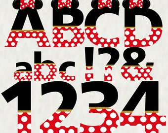 Minnie Mouse Red Alphabet - Instant Download - Digital Letters and Numbers