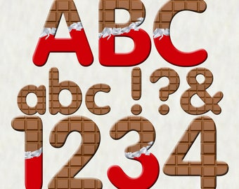 Chocolate Alphabet | Instant Download | Digital Letters and Numbers | Printable Letters and Numbers | Chocolate Font Clipart