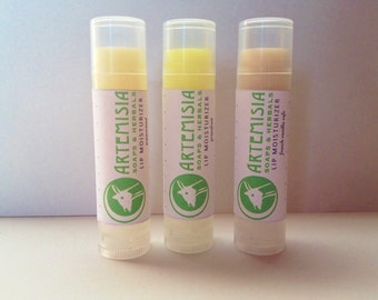 Natural Lip Moisturizer, handmade, natural chapstick in three variety pack, peppermint, french vanilla cafe, and grapefruit