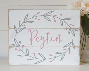 Custom Nursery Baby Girl Name Sign Personalized Baby Shower Gift Handpainted Wooden Sign Nursery Wall Decor Shabby Chic Girls Room Playroom