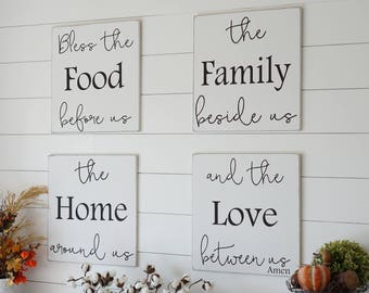 Kitchen Dining Room Prayer Wood Sign Bless the Food before us White Black Christian Home Decor Art Farmhouse Sign Fixer Upper Decor Rustic