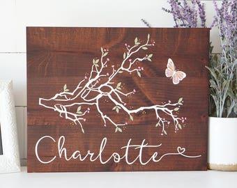 Personalized Name Sign, Butterfly Door Hanger, Girls Room Decor, Nursery Art, Child Wall, New Mom Gift, Girl Room Decor, Baby Girl Nursery
