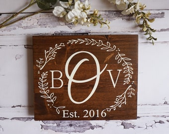 Rustic Home Decor Monogram Wedding Gift Custom Name Sign Pallet Family Established Sign Personalized Name Sign Cream White Farmhouse Decor