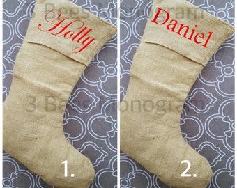 Monogrammed Burlap Stocking