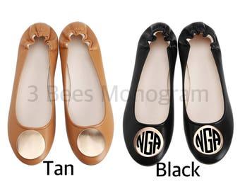 Monogrammed Medallion Ballet Flats