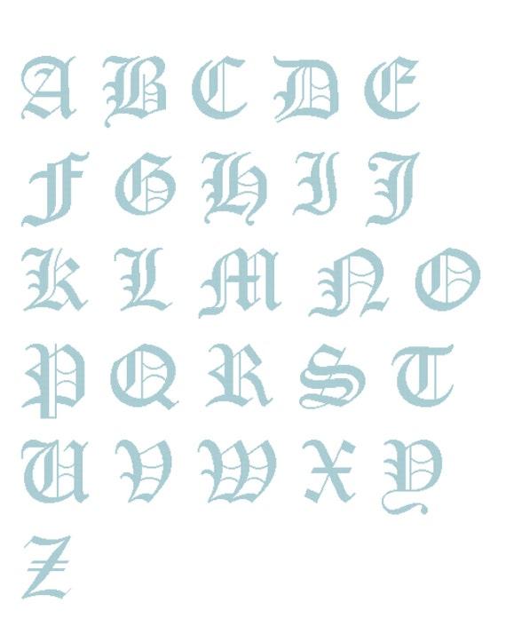 26 Letters Cross Stitch Alphabet Sampler Old English Capital Etsy