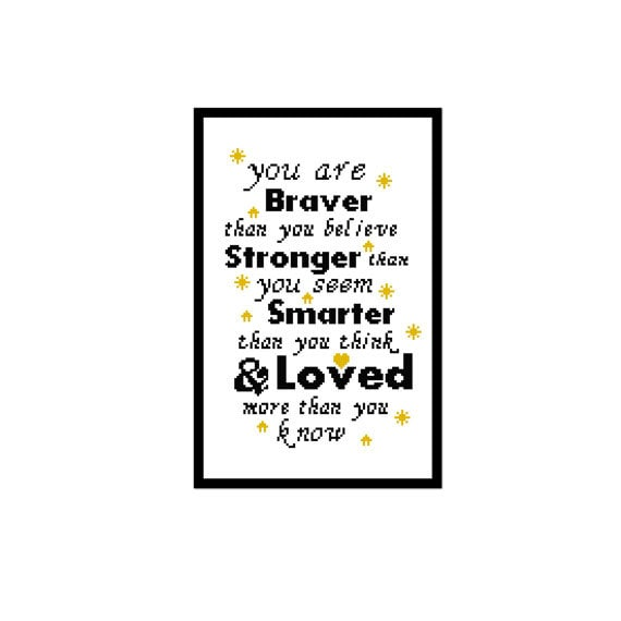 Winnie The Pooh Cross Stitch Sampler You Are Braver Than You Etsy