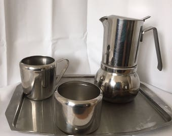 Stella lucido expresso stove top coffee maker  stainless steel tray jug and sugar bowl