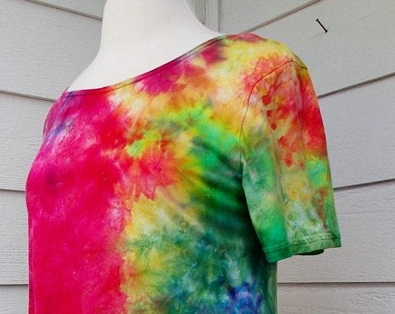 Women's Small Short Sleeve Hanky-hem Ice dye tie dye Cotton Tunic