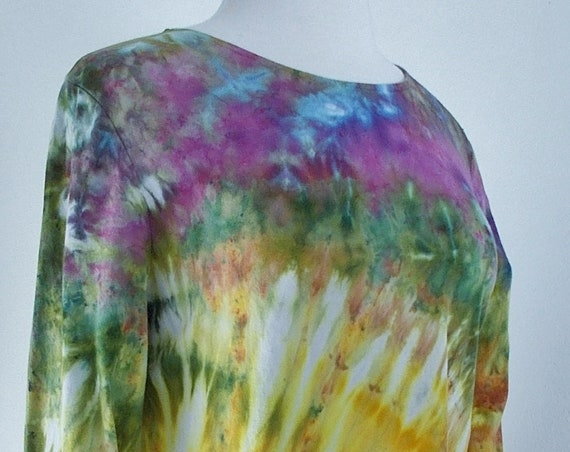 Large Hanky-hem Tunic Ice dye tie dye Women's  Long Sleeve Cotton Shirt