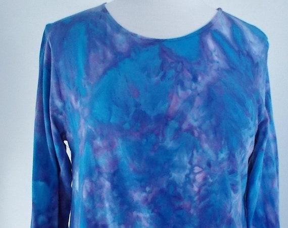 Large Hanky-hem Tunic Ice dye tie dye Women's  Long Sleeve Cotton Shirt