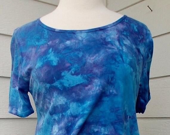 Women's Medium Short Sleeve Hanky-hem Ice dye tie dye Cotton Tunic