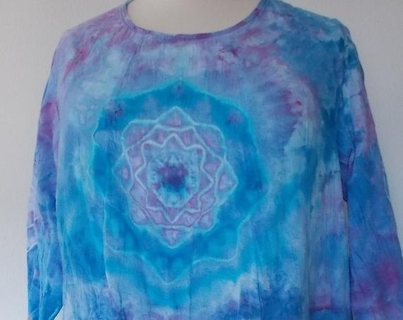 Deep Pockets Gauze Tunic ice dye cotton tunic tie dye tunic cotton gauze