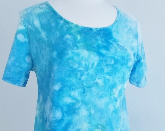 Women's  Medium Short Sleeve Hanky-hem Ice dye tie dye Cotton Tunic