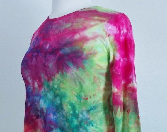 Small Hanky-hem tunic Ice dye tie dye Women's  Long Sleeve Cotton Shirt