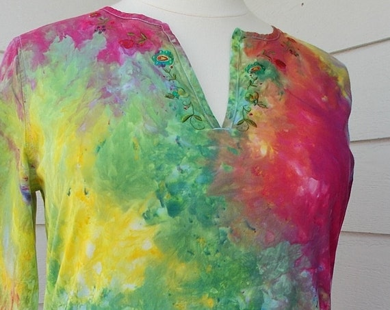 XL Ice-Dyed Tie Dyed Cotton Top