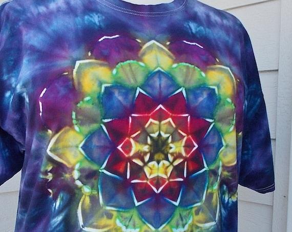 2XL Ice-Dyed Tie Dyed Kaleidoscope Tshirt
