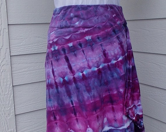 Small Tie Dyed Ice Dyed Cotton Asymmetrical Skirt
