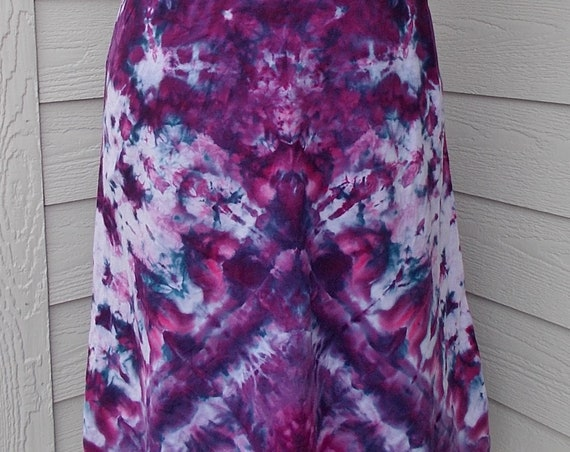 Tie Dyed Ice Dyed  XL Cotton Hi Lo Skirt