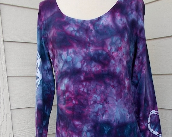Ice dye tie dye Long Sleeve Cotton Dress