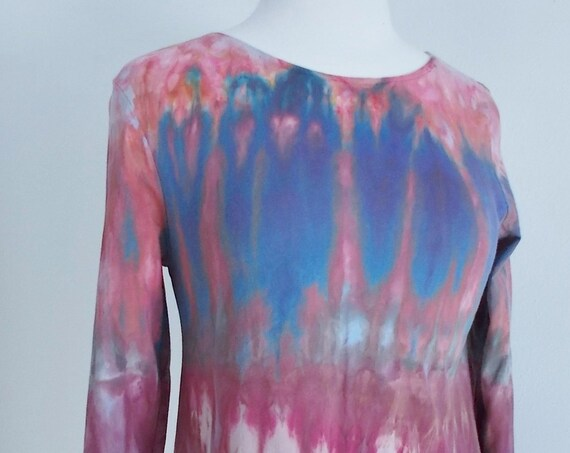 Medium Hanky-hem tunic Ice dye tie dye Women's  Long Sleeve Cotton Shirt